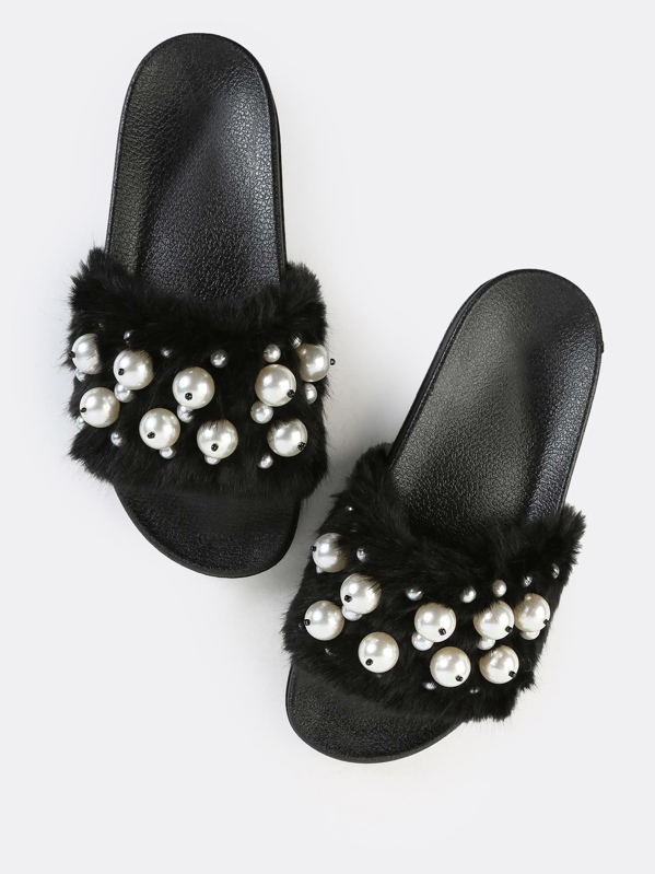 c78ddb54186 Faux Pearl Fur Slide Sandals BLACK
