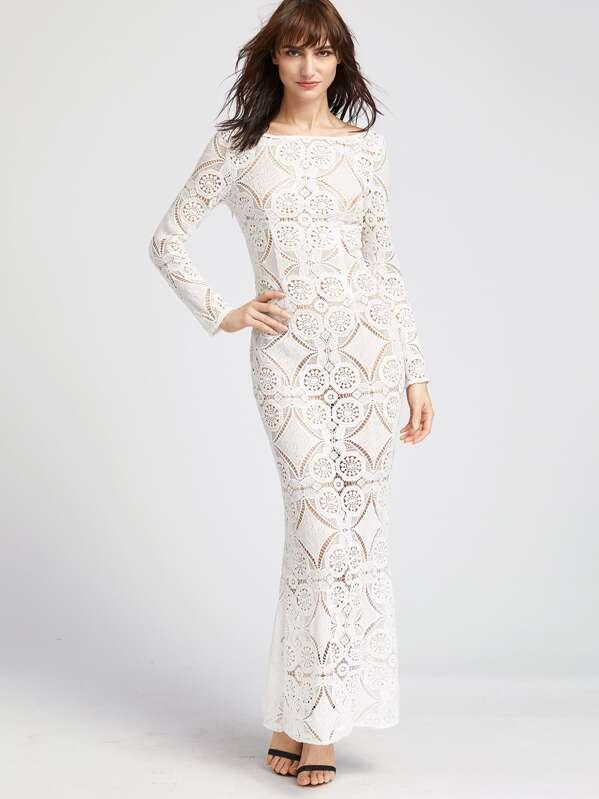 b15409e30 فستان الدانتيل أنيق كم طويل ظهر مكشوف - أبيض | شي إن