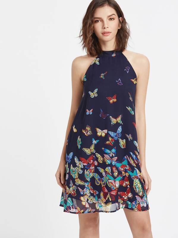 23545e515 Vestido cuello halter con estampado mariposa - azul marino