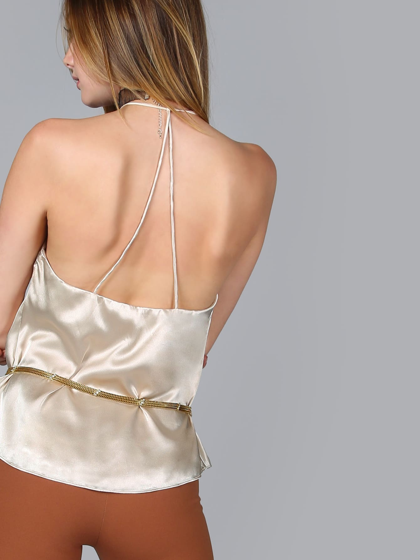 White V Neck Strappy Racerback Cami Top