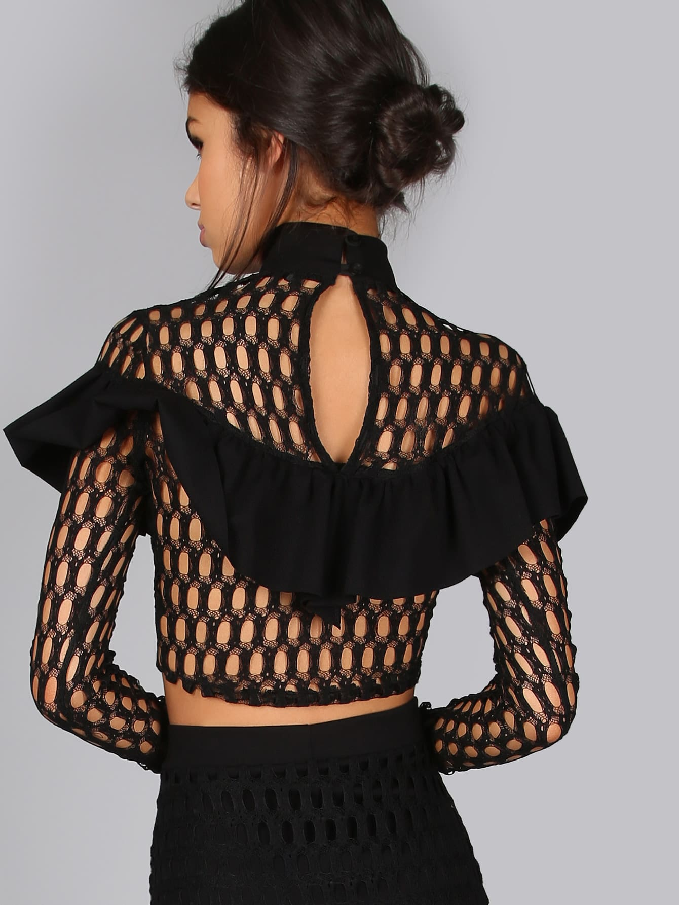 293dd182e74 Mock Neck Frilled Netted Lace Crop Top | SHEIN