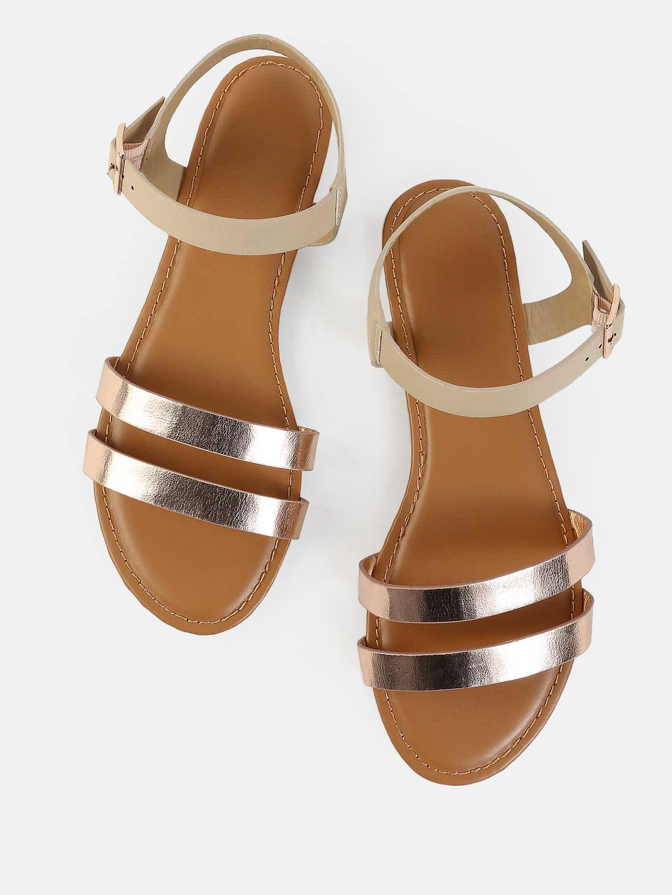 Metallic Duo Skinny Strap Sandals ROSE GOLD -SheIn(Sheinside)