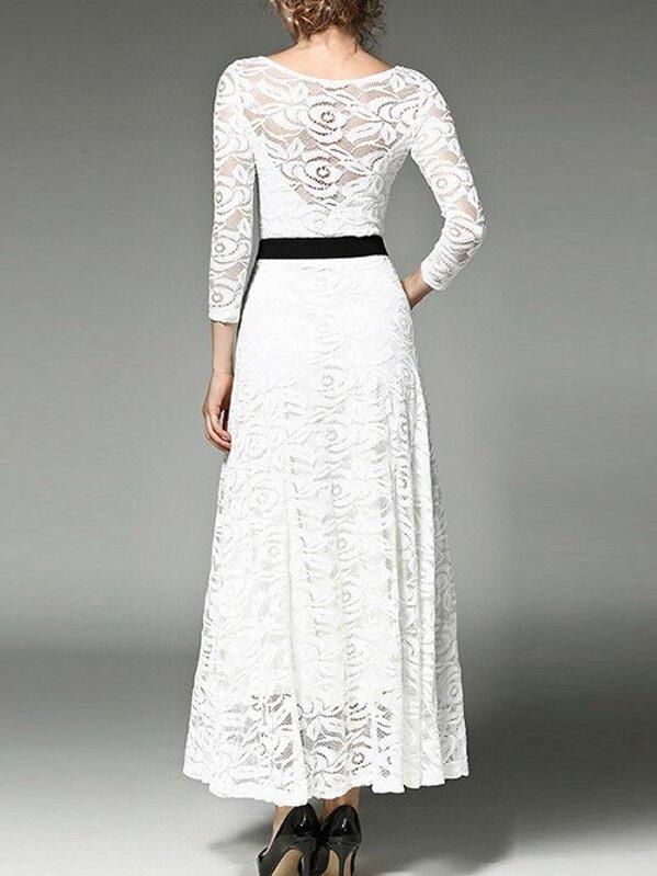 9e96b4ed5 فستان أبيض الدانتيل كم طويل | شي إن