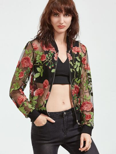 f44a0a1a47 Multicolor Rose Embroidered Zip Up Organza Bomber Jacket | SHEIN IN