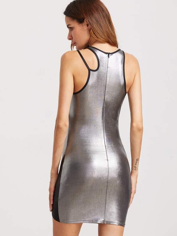 3a06886d1 Vestido entallado con panel en contraste con hombro con abertura - plateado  metálico. AddThis Sharing Buttons