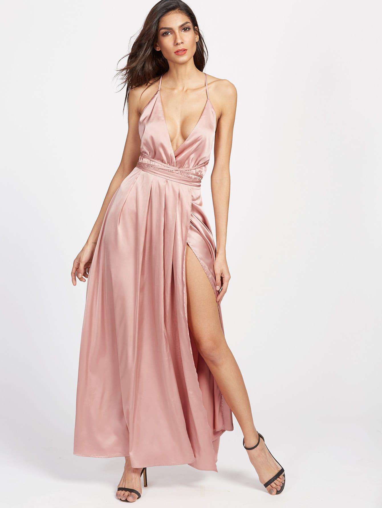Vestido cruzado en la parte delantera con abertura alta - rosa ...