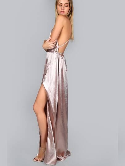 Vestido de tirantes con escote profundo y abertura alta - rosa ... b0fb954ca409