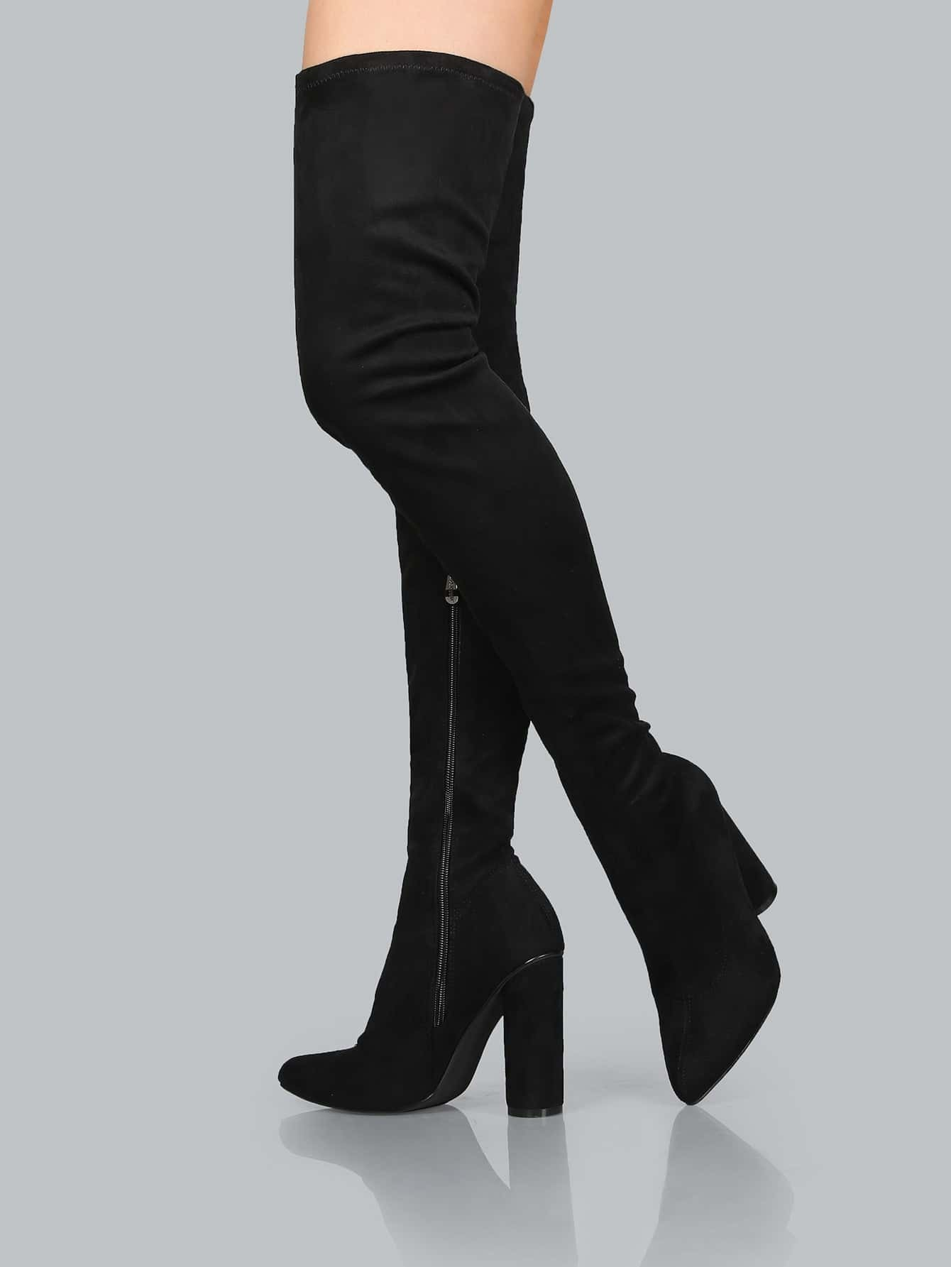 suede pointed thigh boots black shein sheinside