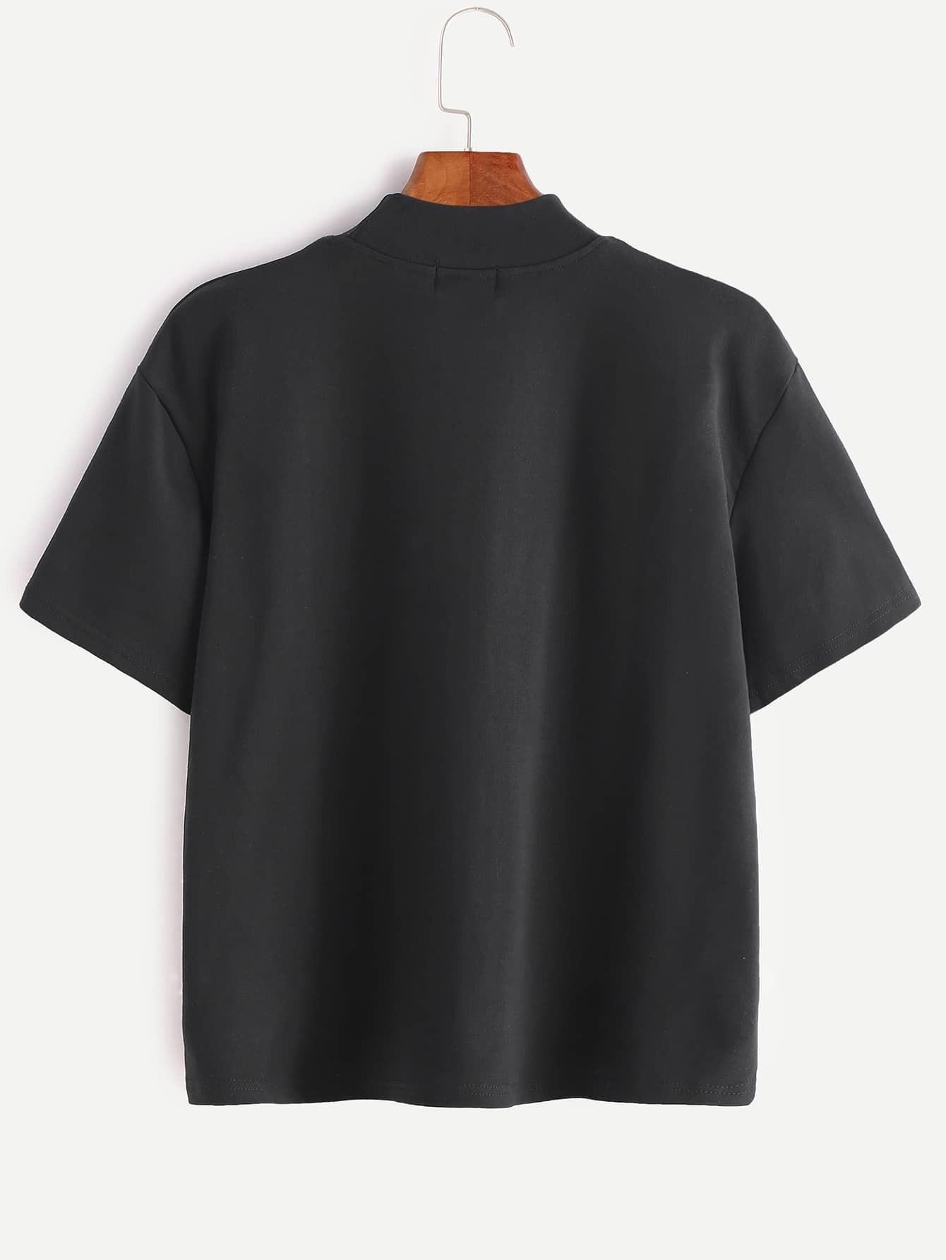 Black mock neck letter print t shirt shein sheinside for Mock crew neck shirts