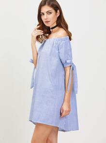 dc5a3134cc Blue And White Vertical Striped Off The Shoulder Tie Sleeve Dress | SHEIN IN
