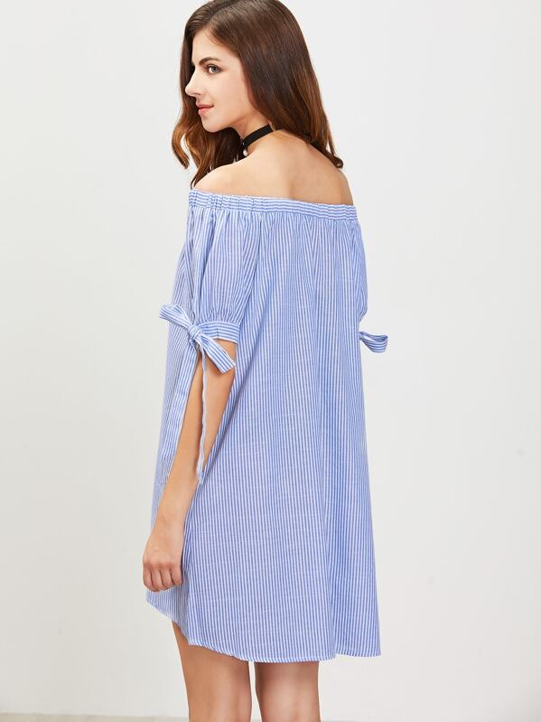 238a1b8945 Blue And White Vertical Striped Off The Shoulder Tie Sleeve Dress | SHEIN UK