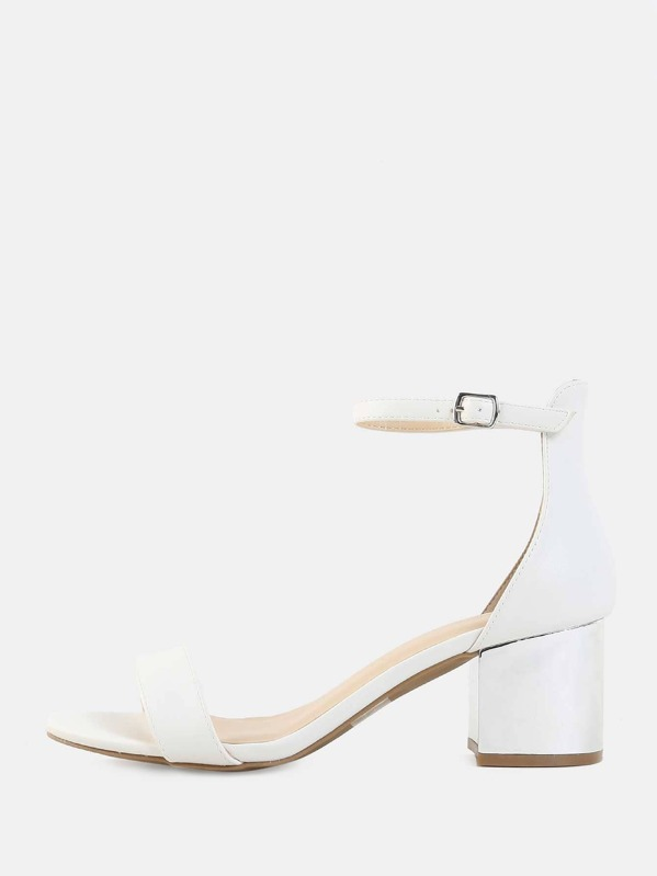 1ddad1230cb Open Toe Metallic Block Heels WHITE