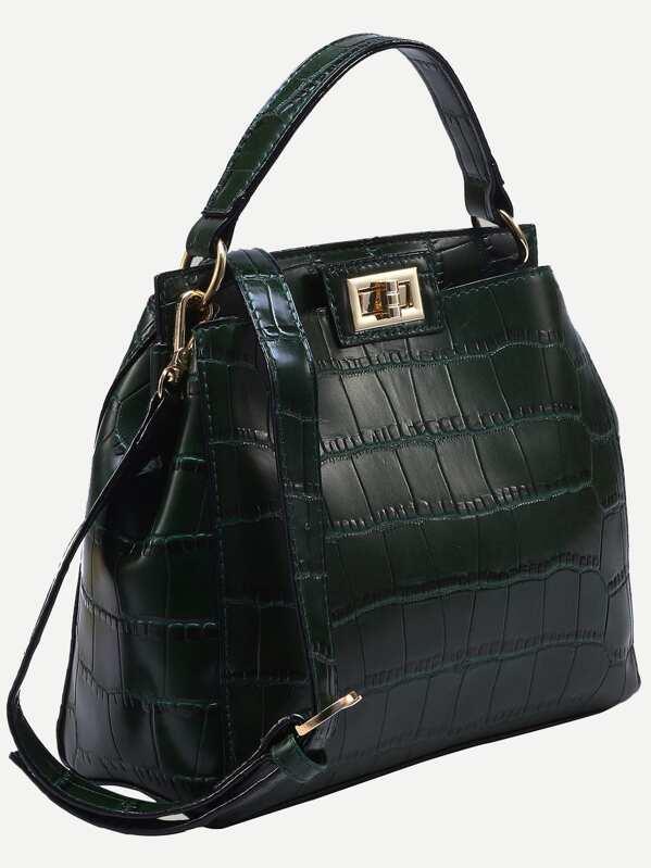 5d61509f10 Crocodile Embossed Double Turnlock Satchel Bag | SHEIN UK