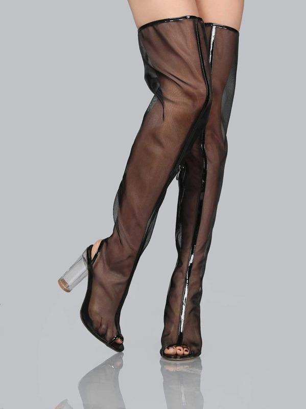 235e89c46c Mesh Thigh High Perspex Boots BLACK | SHEIN