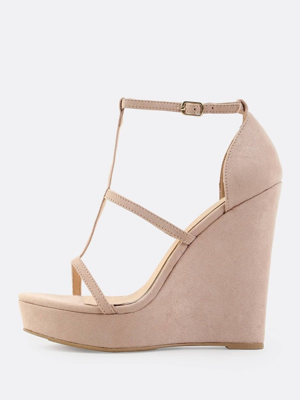 387178c29d1 Cut Out Faux Suede Wedges NUDE