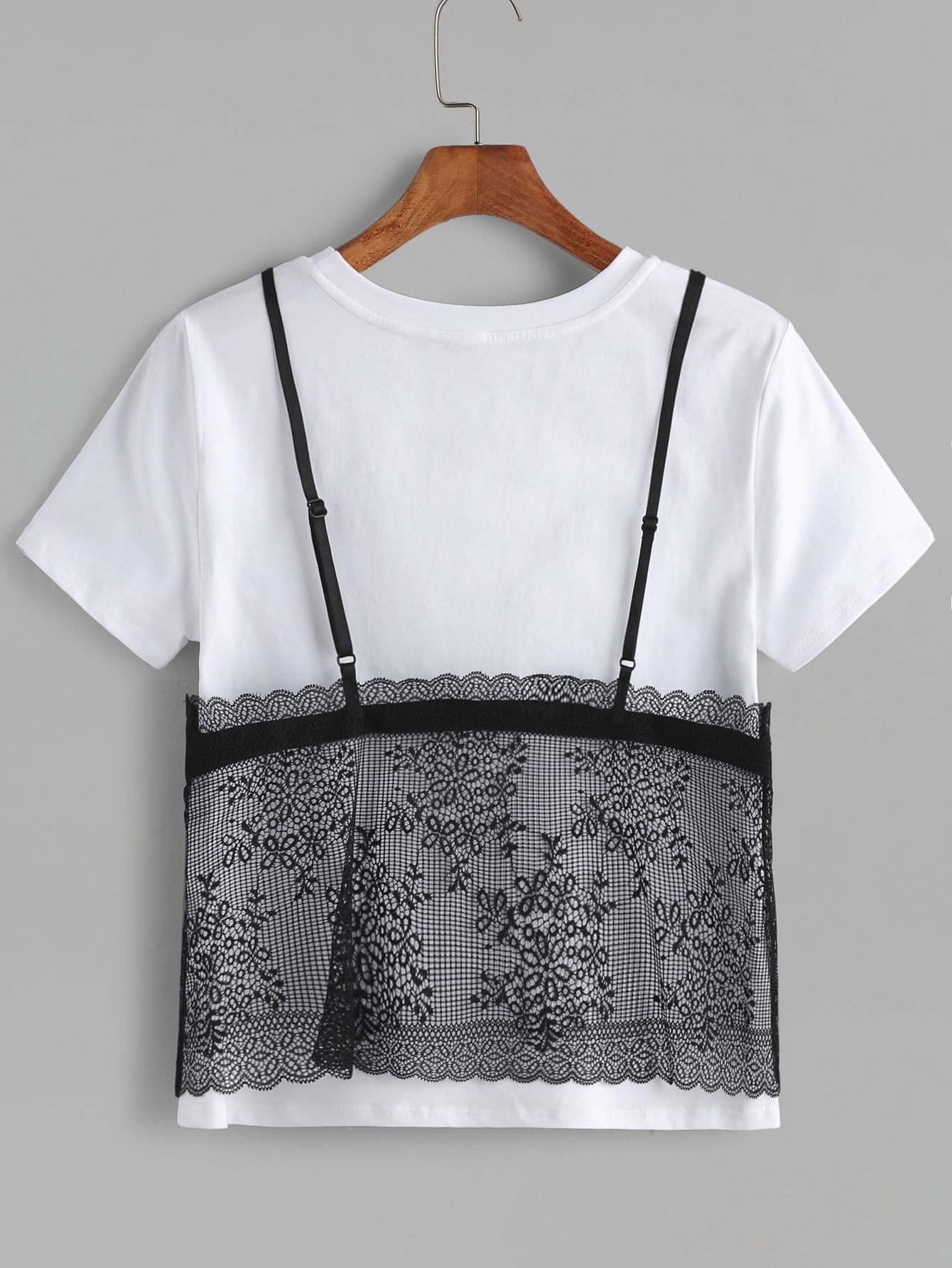 Contrast Floral Lace Cami Overlay T-shirt