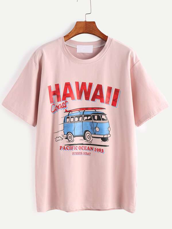 b13be23b7f Pink Letter And Cartoon Print T-shirt -SheIn(Sheinside)