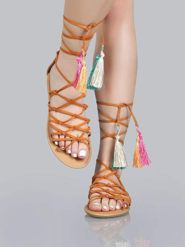 cf57127b35f Faux Suede Tassel Sandals CAMEL -SheIn(Sheinside)