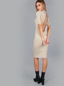 80ca9aa3d78 Lace Up Ribbed Midi Dress NUDE
