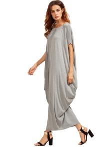4567132430 Light Grey One Shoulder Dolman Sleeve Maxi Dress | SHEIN