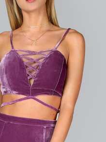 Purple Crisscross V Neck Strappy Velvet Bralet pictures