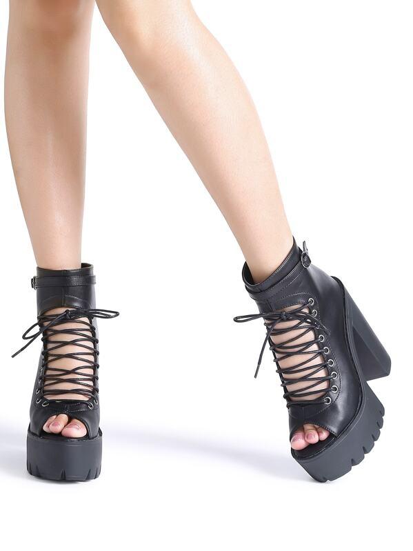 906972ba50 Black Peep Toe Lace Up Platform Chunky Heeled Sandals | SHEIN
