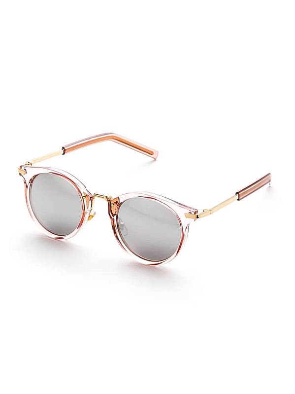 0fdfabaacdc8e Clear Frame Flat Lens Round Sunglasses
