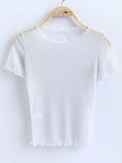 White Short Sleeve Sheer Top