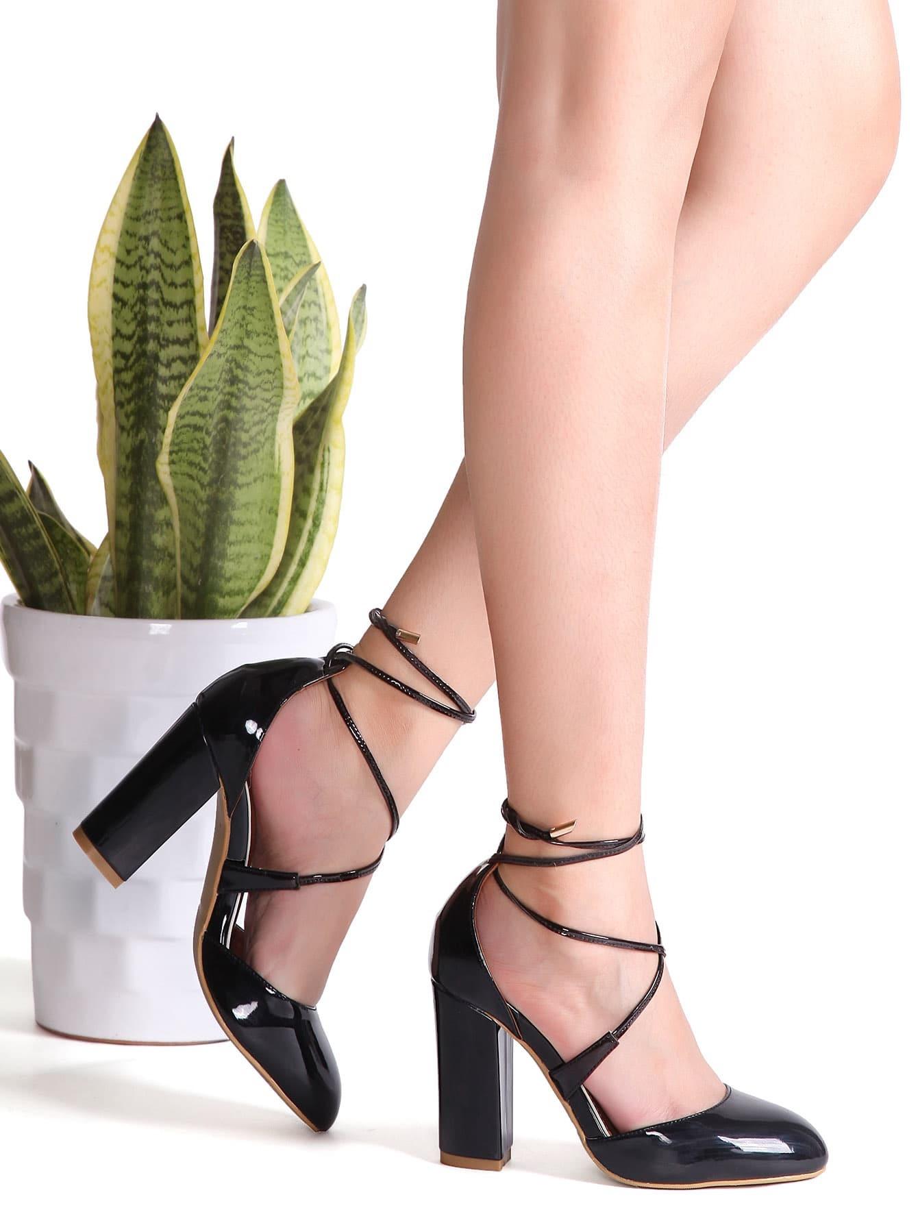 Cruzados Zapatos Tacón Negro Pu De Grueso mwO8vNn0