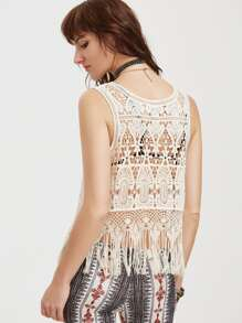 Fringe Trim Hollow Out Crochet Tank Top pictures