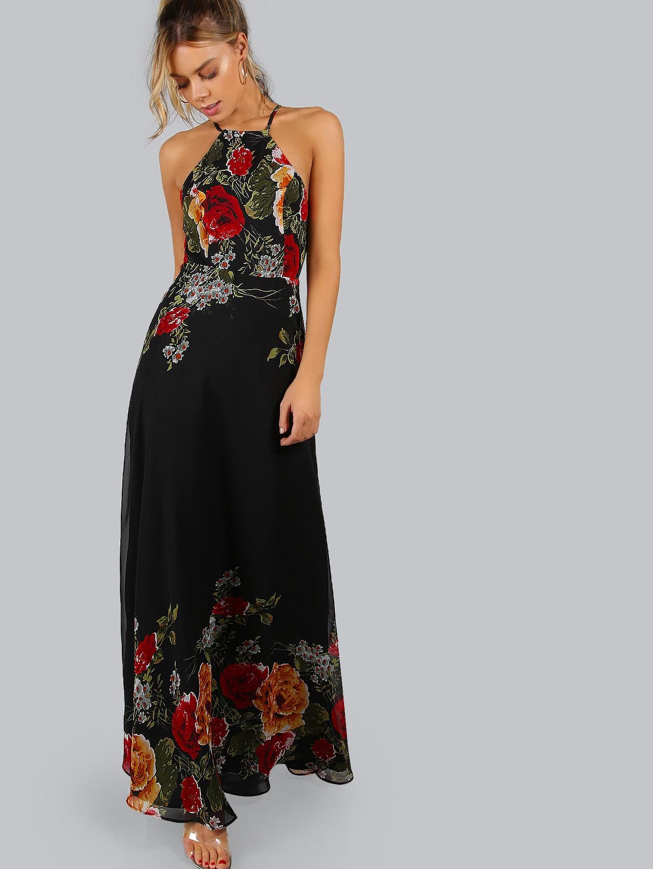 Black Flower Print Halter Neck Open Back Maxi Dress Shein