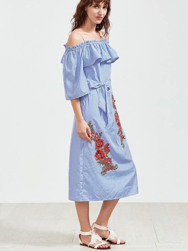 Des Nue Rose Bleu Épaule Robe Avec Applications Rayures yfYb7g6
