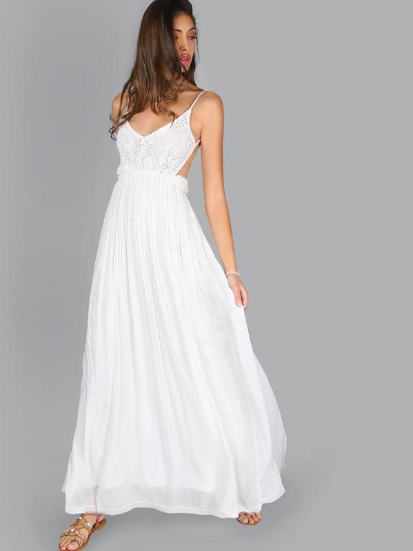 White Pleated Maxi Dress