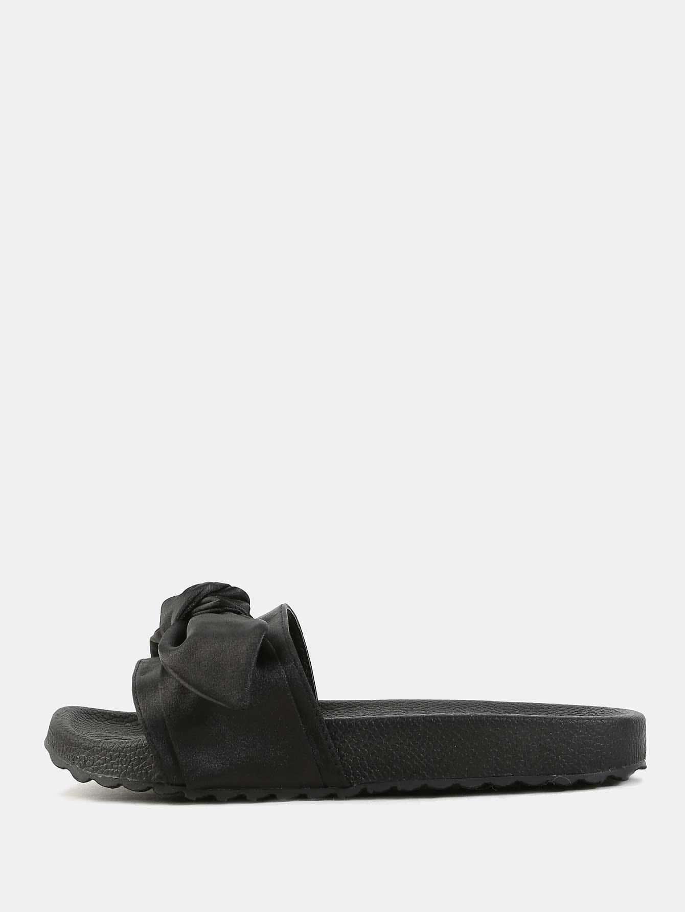c3dcc1bebe31 Bow Tie Satin Slide Sandals BLACK