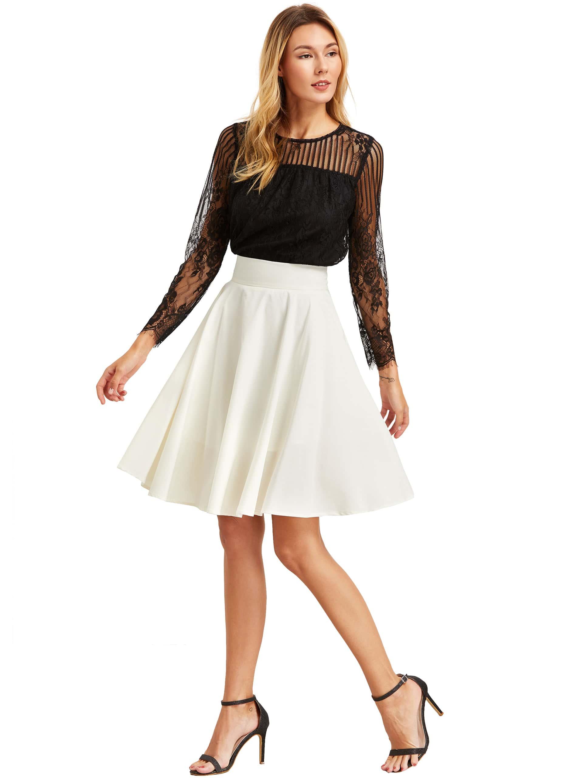beige high waist pleated midi skirt shein sheinside
