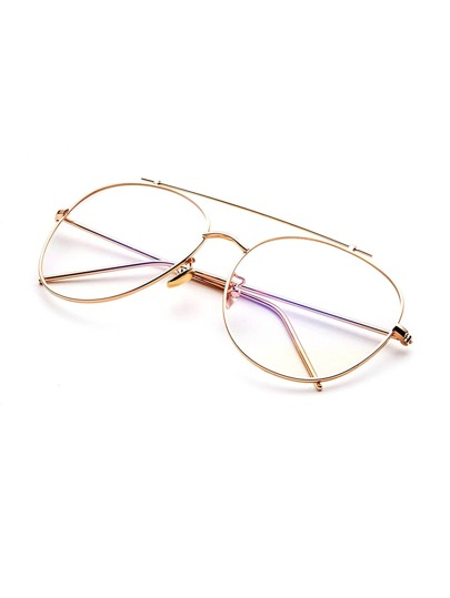 gold frame clear lens double bridge glasses sunglass170221302_1 sunglass170221302_1 sunglass170221302_1