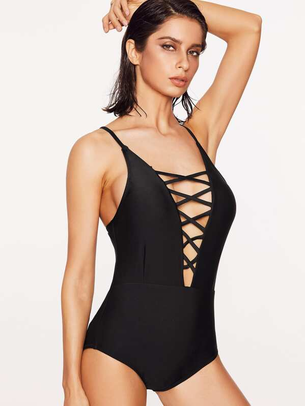 bf813ea650 Criss Cross Plunging One Piece Swimwear | SHEIN