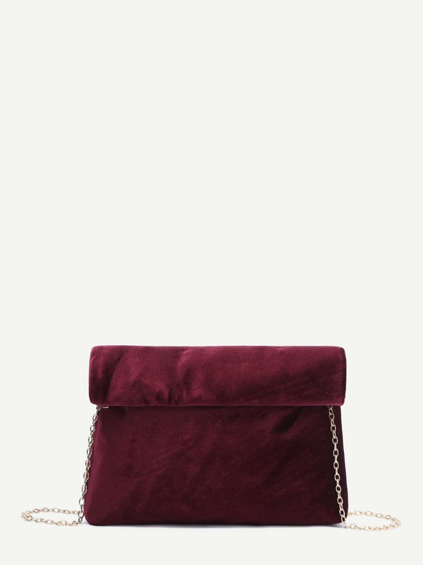 latest collection brand quality discount coupon Burgundy Foldover Velvet Clutch Bag With Chain