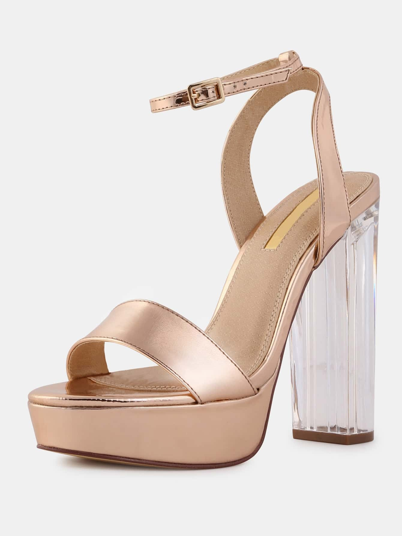 fb741fd5286 Metallic Chunky Perspex Heels ROSE GOLD