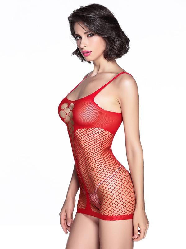 cuello redondo de red con roja diseño Vestido sexy de Yfv76ybIg
