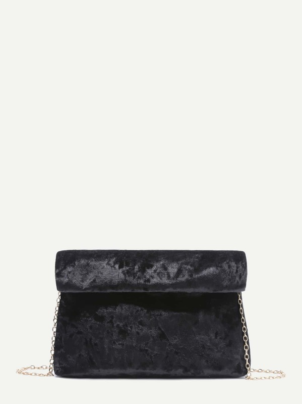 223ada2fedae Чёрная бархатная сумка-клатч на цепочке