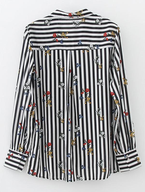 2cd888fe62 Vertical Striped Flower Print Shirt -SheIn(Sheinside)