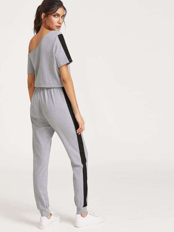 a004a9dc06a Heather Grey Asymmetric Off The Shoulder Contrast Panel Jumpsuit -SHEIN( SHEINSIDE)