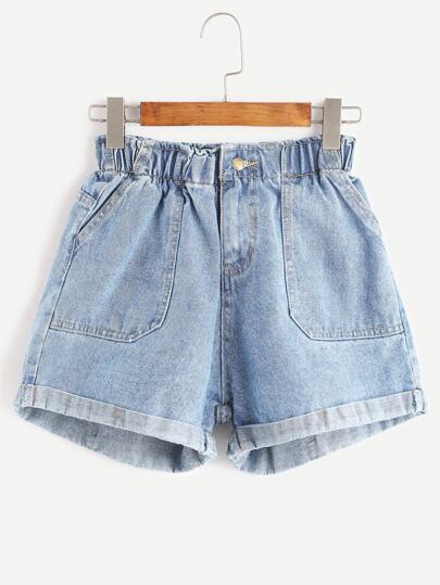 71422e85b4439 Elastic Waist Rolled Hem Denim Shorts