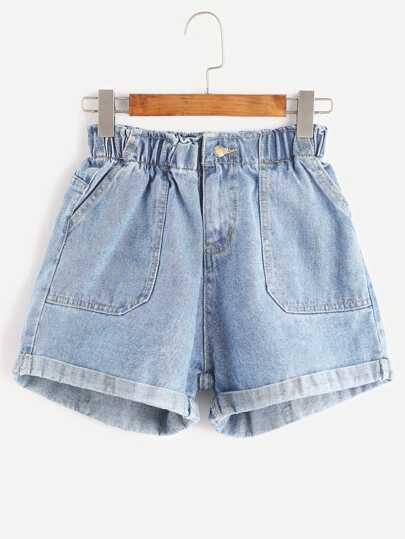 c1354afb0df Cheap Elastic Waist Rolled Hem Denim Shorts for sale Australia