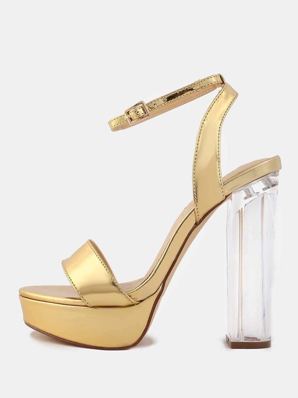 b0a241ff7b2 Metallic Platform Perspex Heels GOLD