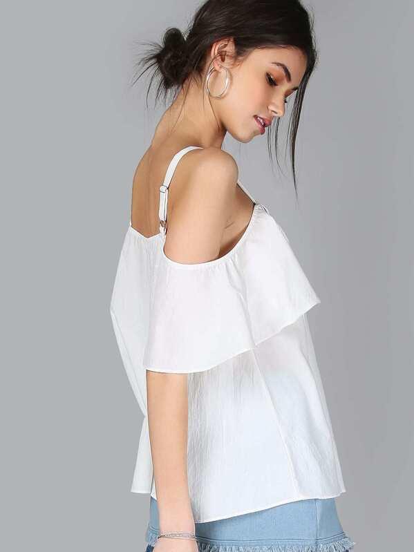 69259c5c3da68a Lace Up Tassel Cold Shoulder Flow Top WHITE | SHEIN IN
