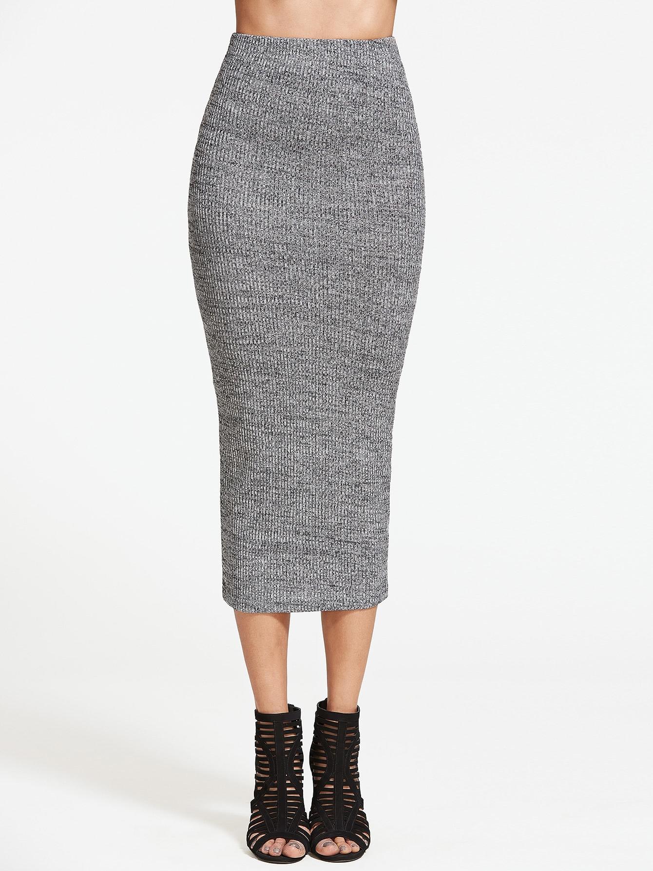 Heather Grey Ribbed Knit Pencil Skirt -SheIn(Sheinside)
