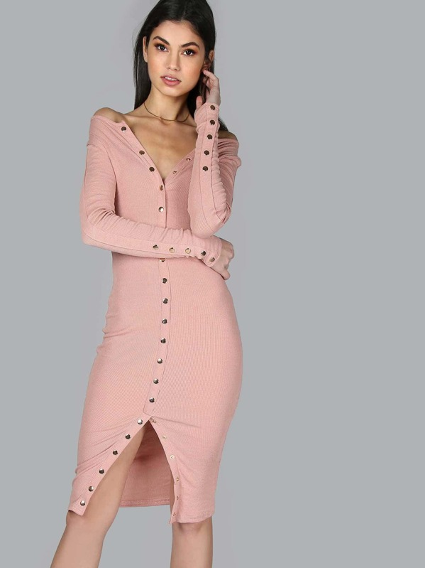 a41a4d6639 Snap Button Down Ribbed Dress PINK | SHEIN UK