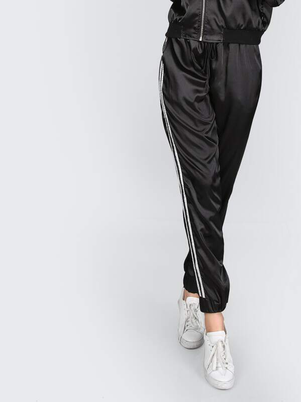 Side Striped Satin Trainer Joggers. AddThis Sharing Buttons b7a19a6100a